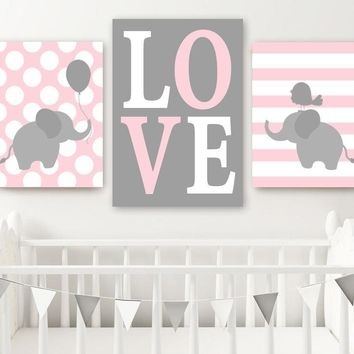 Girl ELEPHANT Nursery Decor, Baby Girl Elephant Wall Art, Pink Gray Nursery Decor, Twin Elephant Nursery Artwork Canvas or Prints Set of 3