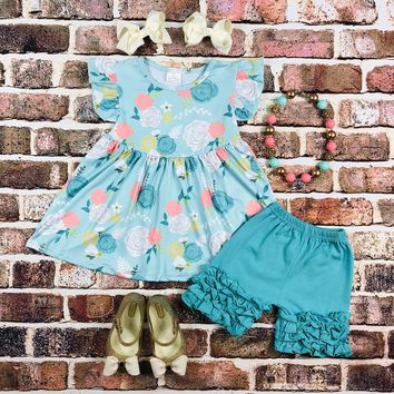 RTS Turquoise and Coral Floral Set D38