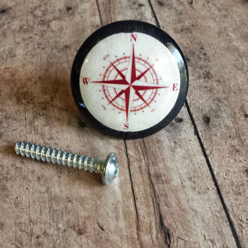 Handmade Compass Birch Wood Knob Drawer Pulls, Red and White Nautical Cabinet Pull Handles, Sea Dresser Knobs, We Make Customized Orders