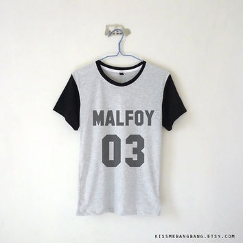 Draco Malfoy Shirt / Harry Potter Shirt / Quidditch Shirt / Malfoy 03 Baseball Tee / Movie / Hogwarts / Tumblr / Plus Size
