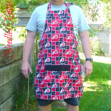 Utah Utes Apron, Mens Aprons, Womens Aprons, Unisex Cooking Apron, Utes Football, Graduation, Tailgating Apron, Gifts For Him