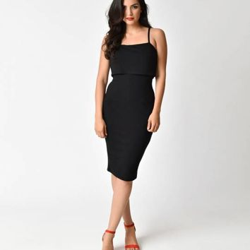 Retro Style Black Knit Wiggle Dress with Overlay