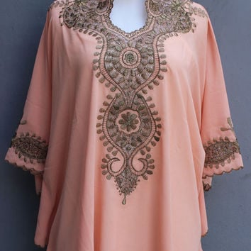 Peach Caftan Blouse Embroidery Dress Chiffon Wedding Summer Party Short Kaftan Dress