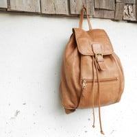 Vintage Brown Leather Backpack // Leather Rucksack // Medium