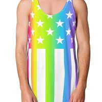 American Pride - Rainbow Stars and Stripes Loose Tank Top Single Side All Over Print