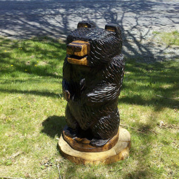 Medium Size Bear Carving by StonesWoodCarvings on Etsy