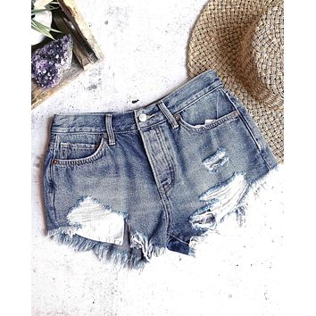 free people - loving good vibrations cut off shorts - indigo mirage
