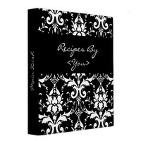 Black and White Damask Recipe Cook Book Binder