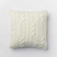 """Braided Cable Pillow Cover - Ivory (18""""x18"""")"""