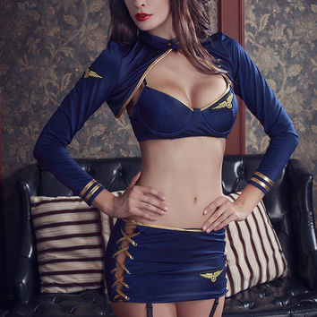 2017 New COSPLAY Sexy Lingerie Hot stewardess uniform temptation bra+t-pants women Sex Products toy Sexy underwear Role play
