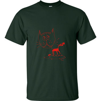 Red kitty cat mouse t-shirt
