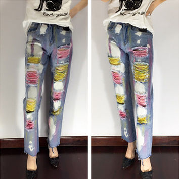 All-match Fashion Multicolor Graffiti Irregular Ripped Worn Beaded Loose Long Pants Jeans