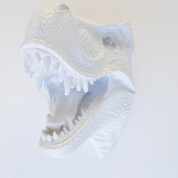 The Bronson - White Resin T-Rex Head- Trex Resin White Faux Taxidermy- Chic & Trendy
