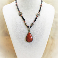 Goldstone Teardrop Pendant On Beaded Chain Vintage Boho Hippie