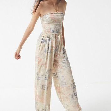 UO Strapless Smocked Jumpsuit | Urban Outfitters