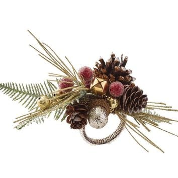 PINE BRANCH NAPKIN RING S/4