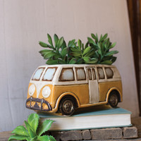 Ceramic Bus Planter - Yellow & White