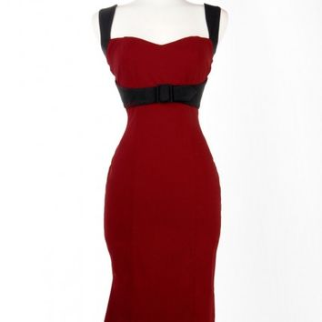 Jessica Dress in Burgundy with Black Trim - Plus Size