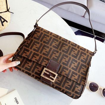 Free shipping-Fendi Vintage Double F Letter Women's Shoulder Bag Crossbody Bag