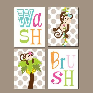 GIRL MONKEY Bathroom Wall Art, Monkey Bathroom Decor, Shared SISTER Bathroom Decor, Wash Brush Rules, Canvas or Prints, Set of 4 Wall Decor