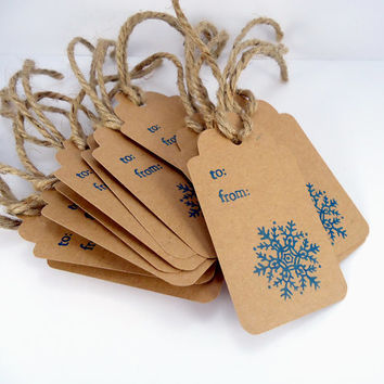 Blue snowflake  tags, Rustic, To From, kraft gift tags, blue christmas packaging, holiday gift wrap, rustic winter wedding