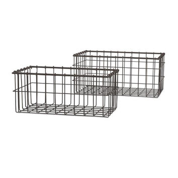 Industrial Wire Baskets - Set of 2