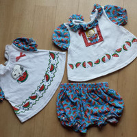 Vintage PEANUTS Snoopy + Sally Brown WATERMELON Baby Girl Outfits / 12 M / Red White and Blue / Polka Dots / Adorable / Baby Gift