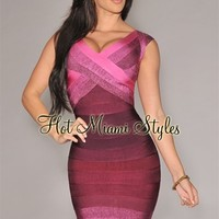 Grape Ombre CrissCross Bust Bandage Dress