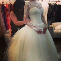 Hot Sale Beaded 2016 Long Sleeve Vestido De Noiva Tulle Bridal Wedding Dresses Gowns Romantic Long Woman Discount Wedding Dress