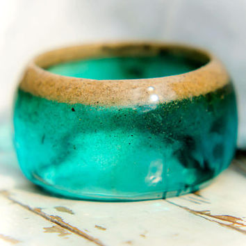 Summer bangle / Sea sand and resin / Cocktail bracelet / Turquoise Water Resin / Boho bangle / Sea water sand shells / Beach bracelet