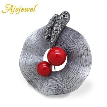 Ajojewel Antique Silver Color Hat Shaped CZ Vintage Brooches Pins For Women Red Simulated Pearl Jewelry Gift For Party