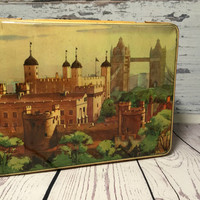 English Vintage Tin . Tin Box . Jamesons Chocolates . Hinged Tin . London England Tin .