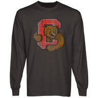 Cornell Big Red Distressed Primary Long Sleeve T-Shirt - Charcoal