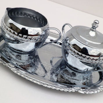 Irvinware Silver Plated Cream and Sugar Set with Tray
