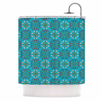 "Mayacoa Studio ""Morrocan Tile In Blue"" Geometric Floral Shower Curtain"