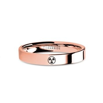 Radioactive Symbol Logo Engraving Rose Gold Tungsten Wedding Ring