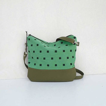 GREEN geometric bag, green flax bag, crossbody canvas bag, shoulder bag, crossbody purse, hobo bag, linen  handbag, daily bag, linen bag