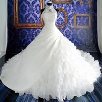 2015 Sexy Hi-neck Sleeveless Wedding Dress vestidos de noiva Ball Gown Bridal Gowns Zipper Back Luxury Wedding Dress