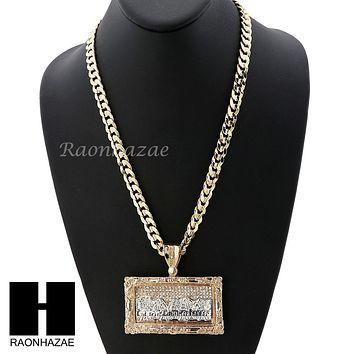 MENS ICED OUT L LAST SUPPER PENDANT & DIAMOND CUT CUBAN LINK CHAIN NECKLACE NN55