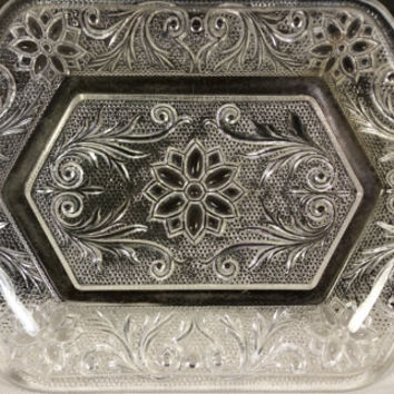 Clear Crystal Butter Dish 6 Sided Plate with Handles Floral Poinsettia & Scrolling Leaf Pattern Small Cheese Relish Butter Tray