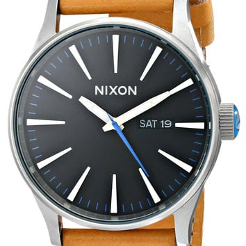 Nixon Men's A105 Sentry 42mm Stainless Steel Leather Quartz Movement Watch Natural/Black