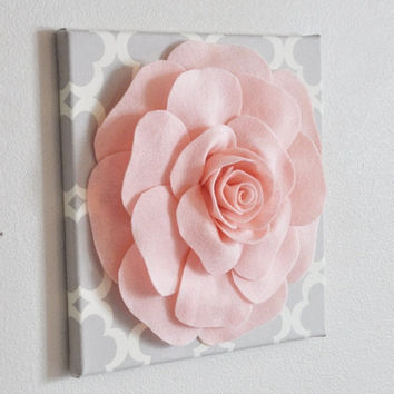 "MOTHERS DAY SALE Rose Wall Hanging- Light Pink Rose on Neutral Gray Tarika 12 x12"" Canvas Wall Art - Nursery Decor"