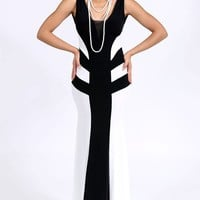 Prom Perfect Maxi Dress (Black and White)