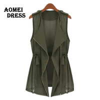 Women Summer Blouse Chiffon Army Green Zipper Sleeveless Blusas Camisa Mujer Black Summer Tops Kardigan Clothing Outerwear Vest