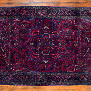 "Persian Rug, c1920, Sarouk, 6'x4'3"", burgundy red, blue, olive, flower motif, leaves motif,professionally cleaned, a vintage beauty"