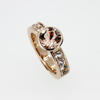 Peach morganite solitaire ring, yellow gold, white sapphire ring, morganite engagement ring, bezel, wide, unique, peach engagement, gold