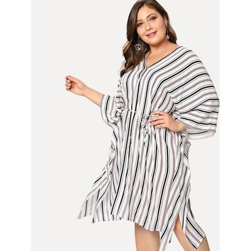 Striped Poncho Dress with Slim Belt