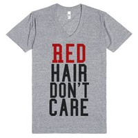 C - Red Hair Don't Care2-Unisex Athletic Grey T-Shirt