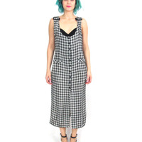 50% OFF SALE 90s Grunge Plaid Maxi Dress Overall Button Down Sleeveless Suspender Dress Black White Checkered Dress(S/M)