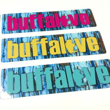 Buffalove Sticker *Choose your color* Rustic Wooden Background